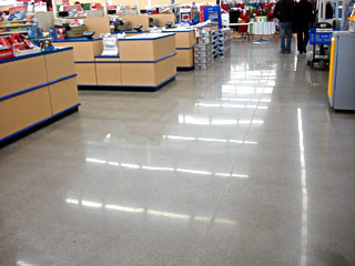 Polished concrete floor in a commercial application